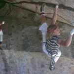 One of the old legends of climbing, Dave Diegelman, on Separate Reality in Yosemite. Photo by George Meyers, courtesy of Sender Films