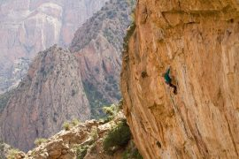 Harrington climbing in the Atlas Mountains, Morocco; photo by Kris Erickson
