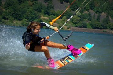 Sensi Graves continuously places high in national kiteboarding invitationals; Photo courtesy of Graves