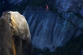 Dean Potter highlining the Lost Arrow Spire, Yosemite National Park. Photo by Jim Hurst.