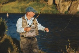 Yvon keeps things simple when fishing for trout with a tenkara rod in Fall River, Idaho.