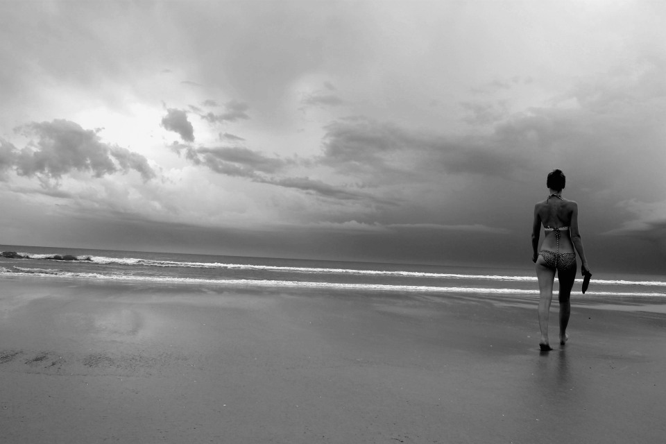 Image result for happy girl on the beach black and white